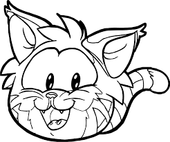 Small Picture Club Penguin Cat Face Coloring Page Wecoloringpage