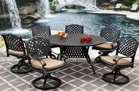 nassau cast aluminum outdoor patio 7pc set 60 inch round dining table series 3000 with sunbrella sesame linen cushion