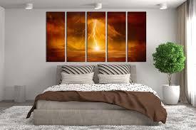 Modern Art Bedroom 5 Piece Huge Canvas Print Abstract Canvas Art Prints Orange Wall