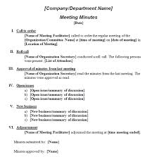 Minutes Of The Meeting Printable Template Of Meeting Minutes Formal Meeting