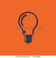 vector square blue icon lighting bulb. vector blue light bulb icon on orange background square lighting l