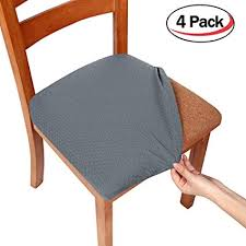 chair seat covers. Smiry Stretch Spandex Jacquard Dining Room Chair Seat Covers, Removable  Washable Anti-dust Dinning Chair Seat Covers