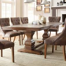 homelegance marie louise double pedestal dining table in rustic