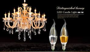 220v 5w 7w e14 led lamp candle bulb light crystal chandelier lighting gold silver aluminum cooling