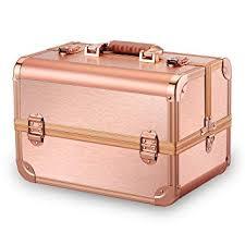 amazon ovonni professional portable makeup train case artist lockable aluminum cosmetic organizer storage box with 15 partments 4 trays