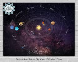 Personalized Sky Map Custom Date Solar System Astronomy Star