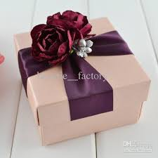 Decorative Boxes For Gifts Pink Square Box With Wine Ribbon Flower Decoration Wedding Favor 3