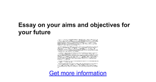 essay on your aims and objectives for your future google docs