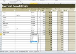 Basement Remodel Costs Calculator Excel Template Renovation