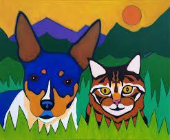 rat terrier and tabby cat pet portrait painting by bztat