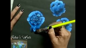 Oilpainting Beautiful Blue Flowers With Oil Paint On Black