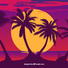 palm tree silhouette ilration free vector