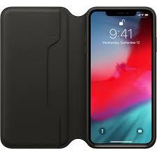 apple leather folio black for iphone xs max
