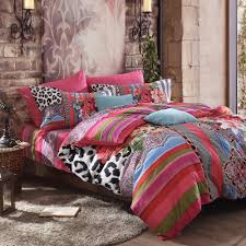black white and red y leopard print bright colorful stripe and fl pattern modern chic full queen size bedding sets