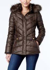 jones new york faux fur trim hooded puffer coat
