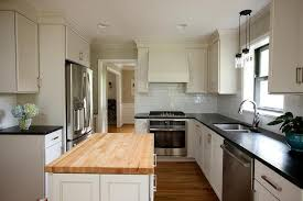 ivory kitchen island with butcher block top