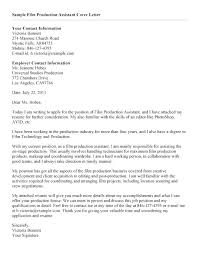 Film Production Assistant Cover Letter Film Cover Letter Lexusdarkride