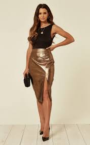 faux leather pencil skirt with in copper by b of london