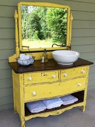 vintage dresser becomes a bathroom vanity complete with white porcelain vessel sink offset to one