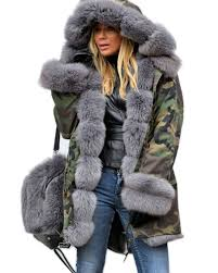 pictures of roiii grey faux fur military womens fur hood coat stacha styles
