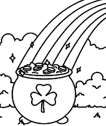 Small Picture A Pot of Gold with a Shamrock Symbol Coloring Page Download
