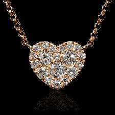 diamond 18k rose gold pendant necklace 8566