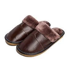 winter fuzzy indoor leather slipper