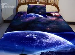 blue celestial print 4 piece duvet cover sets
