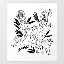 Jungle Sketchbook Tiger Illustration Art Print By Misslittlemess