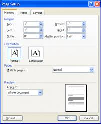 mla format for essays and research papers page setup dialog box