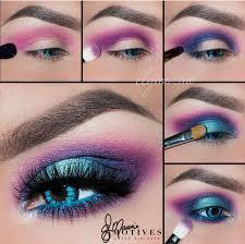electric neon turquoise blue purple pink eye makeup motivescosmetics