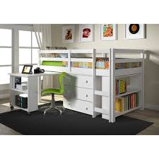 dual desk bookshelf small. Donco Kids Low Study Loft Desk Twin Bed With Chest And Bookcase (White) Dual Bookshelf Small O