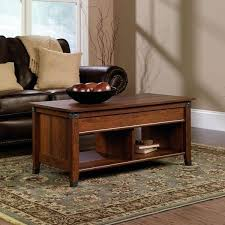 corner living room table. sauder carson forge lift-top coffee table, washington cherry finish corner living room table