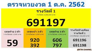 ตรวจหวยวันนี้ ผลสลากกินแบ่งรัฐบาล งวด 1/10/2562 (1 ต.ค. 2562)