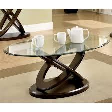 Top Furniture Of America Evalline Oval Glass Top Coffee Table Free Within Glass  Top Coffee Table Sets Ideas