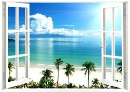interior beach scene wall murals stickers window decal on canvas astonishing art various 12
