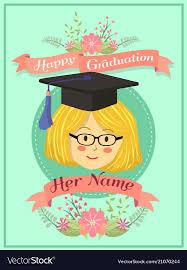 Happy Graduation Mint Green Girl Greeting Card Vector Image