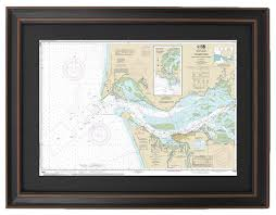 Columbia River Nautical Charts Poster Size Framed Nautical Chart Columbia River To Harrington Point 36x24