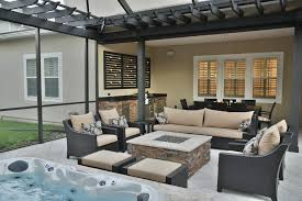 screened area with sunken spa fire pit