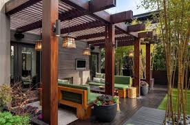 antique hanging patio lighting ideas with modern outdoor sconces on patio deck with pergola