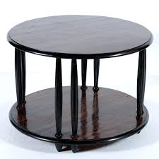 round coffee table with shelf black lacquered wood and important beautiful exotic wood round side or