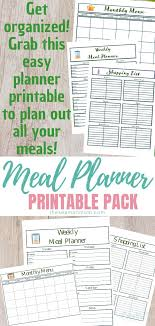Monthly Meal Planner Printable Printable Meal Planner With Monthly Menu Weekly Meals