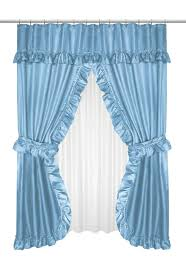 ruffled double swag shower curtain with valance tie backs light blue
