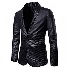 mens casual slim fit black leather blazer jacket
