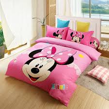 US $75.78  kids christmas Pink minnie mouse comforter set twin full queen king size bedding set Oil printing Girls cotton bed sheets duvet-in Bedding ...
