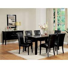 image of leather black dining room chairs