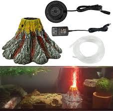 Ectenx Aquarium Volcano Ornament Kit Air Stone Bubbler With Led Spotlight Aquarium Air Bubbler Decorations For Fish Tank