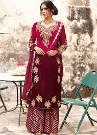 Pink Velvet Suit Design Splendid And Royal Designer Micro Velvet Suit With Shaded