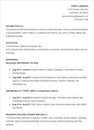 Resume Template For College Student Word Resume Template Free