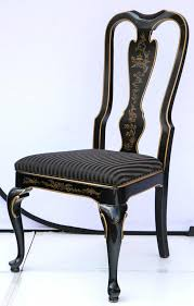 queen anne set of six drexel herie black laquered chinoiserie dining chairs